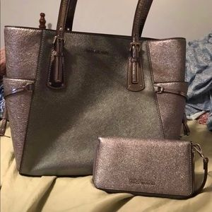 Authentic Michael Kors Metallic Shoulder Bag.